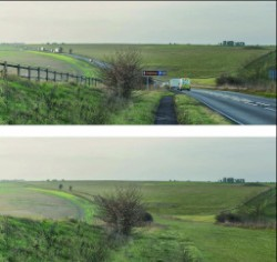 Before and after illustration with the A303 removed