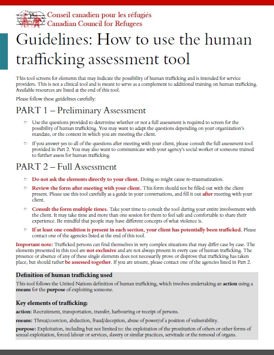 CCR National Human Trafficking Assessment Tool
