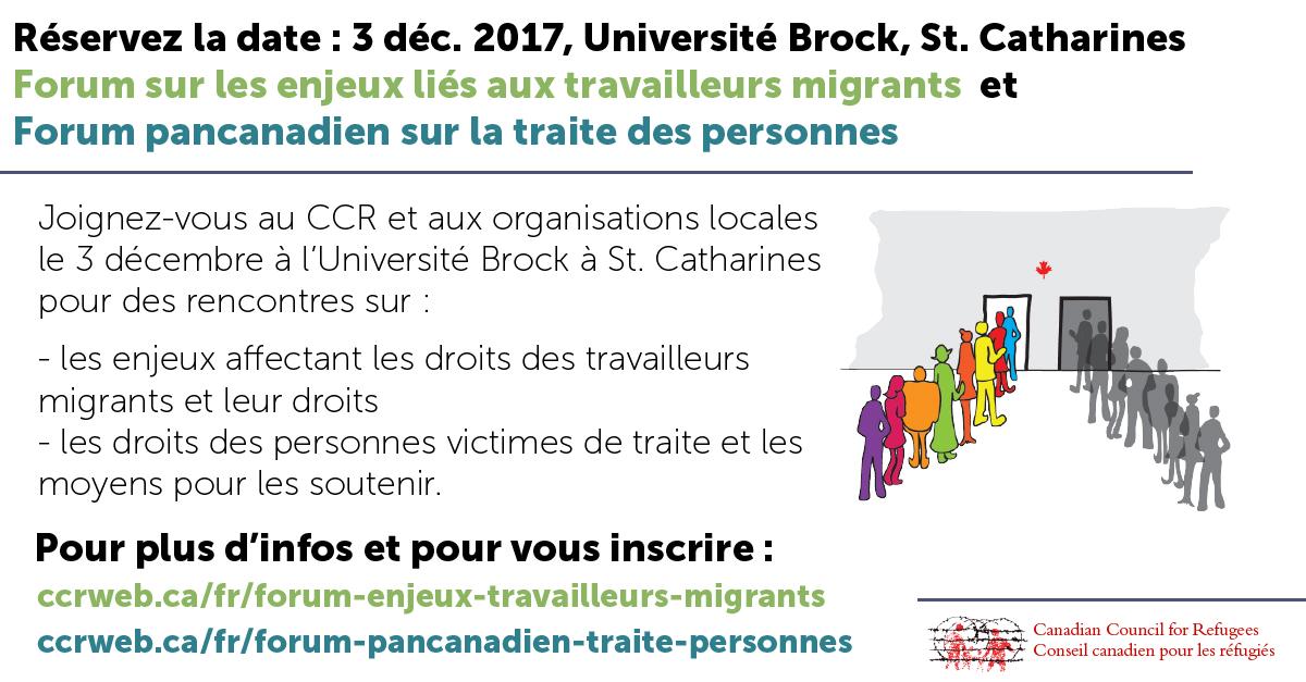 Forums sur les enjeux liés aux travailleurs migrants et à la traite humaine