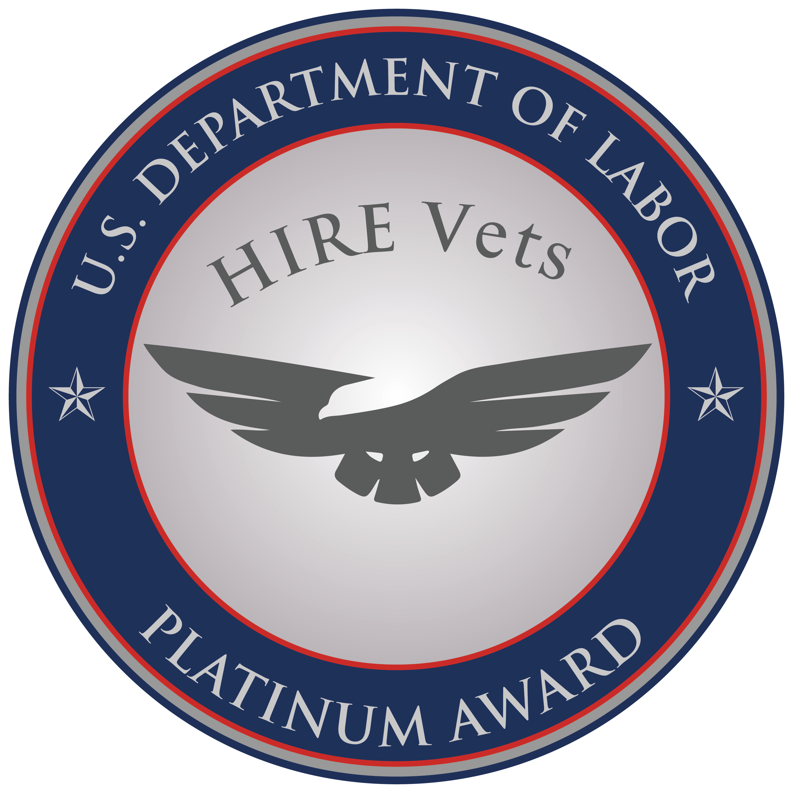 Dept. of Labor HIRE Vets Platinum Medallion Award Seal