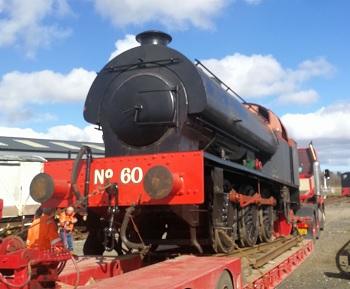 No60 arrives on  low loader