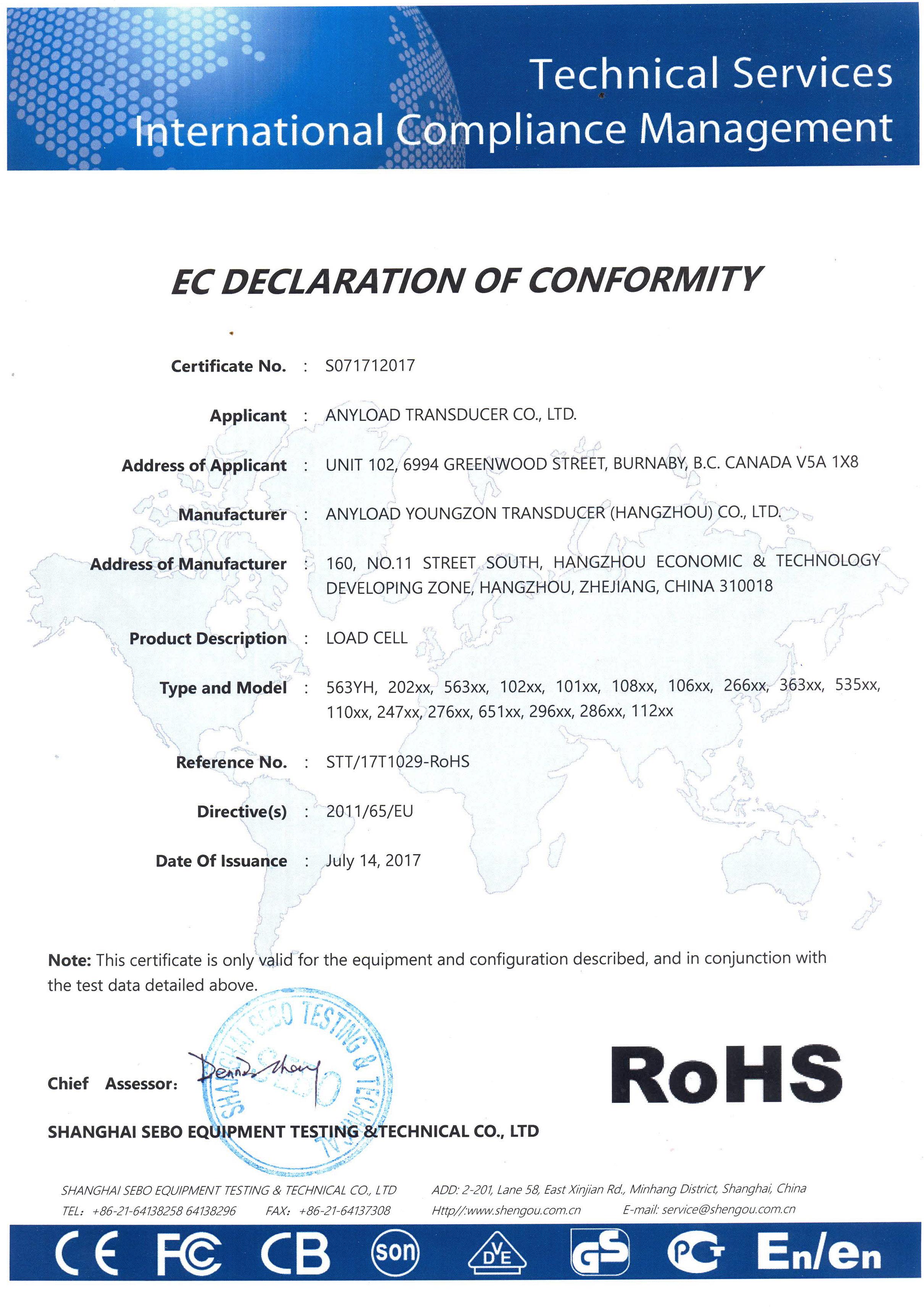RoHS Certificate 2017