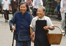 two older women walking