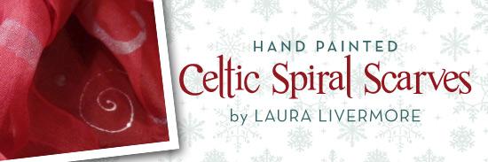 Hand Painted Celtic Spiral Scarves