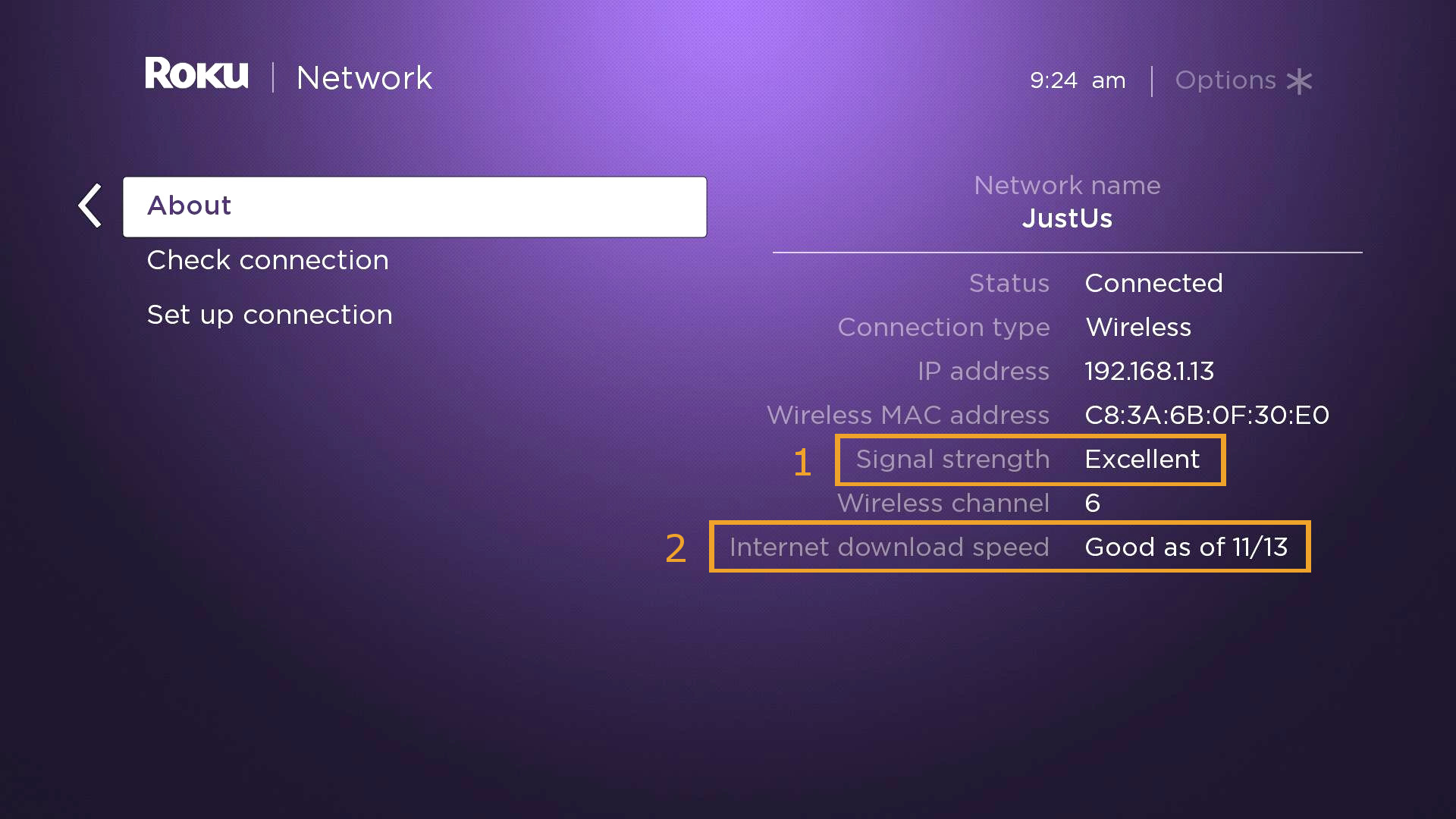 Roku internet connectivity test results