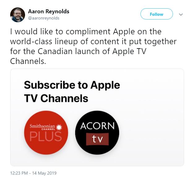 apple tv channels aaron reynolds