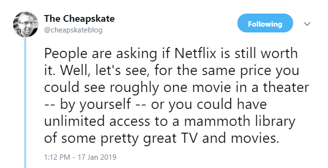 Rick Broida Twitter re: Netflix increase