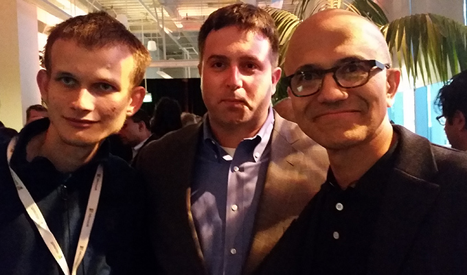 Bringing Ethereum to the enterprise. Left to right: Ethereum inventor Vitalik Buterin, ConsenSys Business Development Head Andrew Keys and Microsoft CEO Satya Nadella.