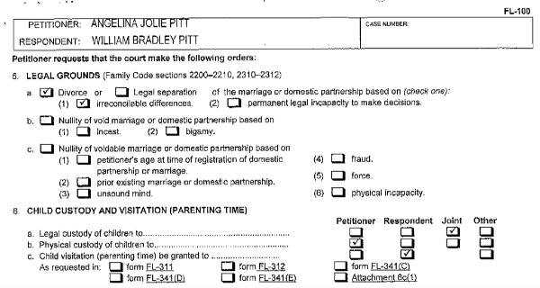 Brangelina divorce papers