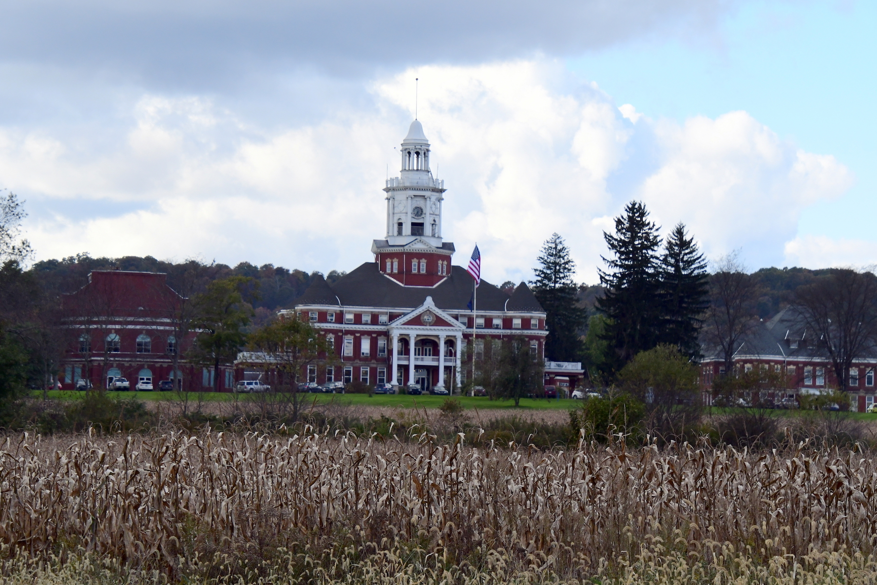 Field of crops in front of large institutional building at Polk State Center with surrounding buildings on summer day.