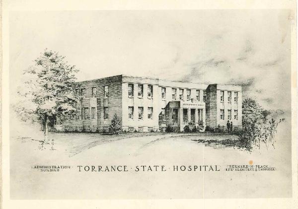 Drawing of Dibert Building at Torrance State Hospital