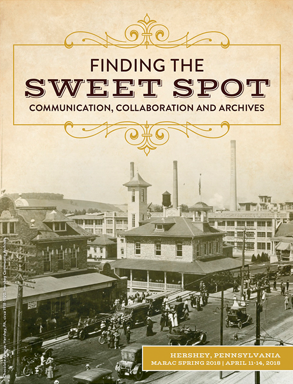Cover of MARAC program, title: Finding the Sweet Spot: Communication, Collaboration and Archives