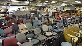 Office chairs in large warehouse