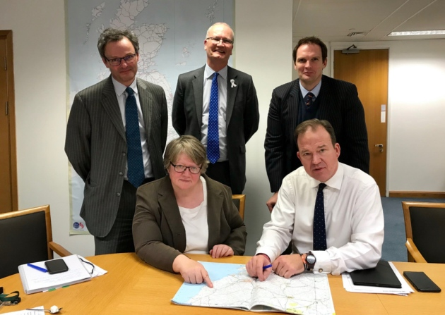 Suffolk MPs lobbying Transport Minister Jesse Norman MP (seated right)