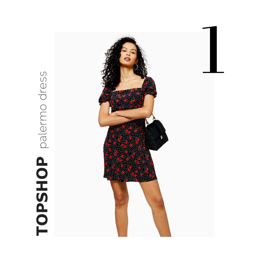 Topshop PALERMO Rose Mini Square Neck Dress