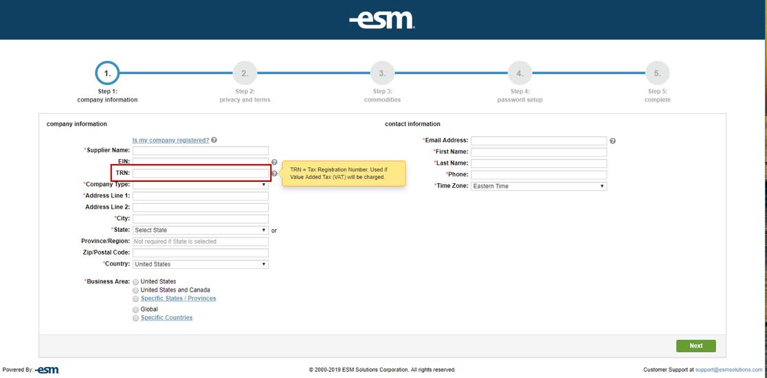 Supplier Registration - Tax Registration Number