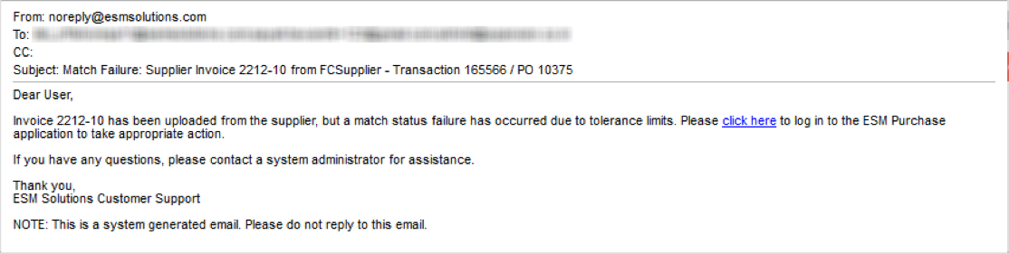 Sample Email - Match Failure