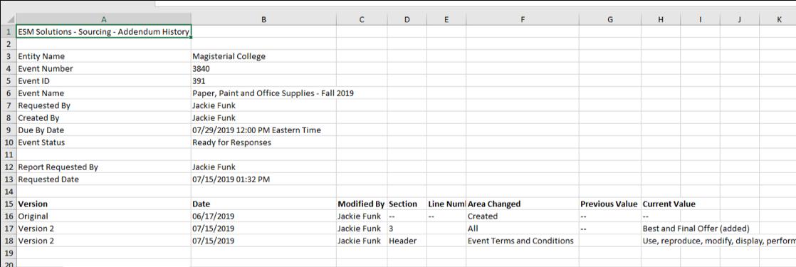 Print Addendum - Excel output