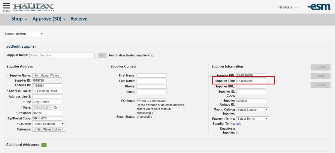 Add/Edit Supplier - Supplier TRN