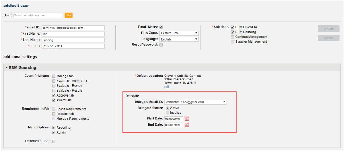 Add/Edit User - Delegate