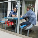Cafe seating using recycled plastic