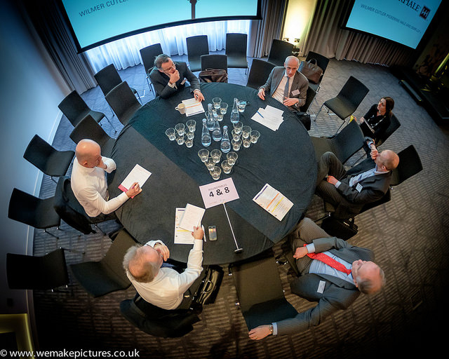 Dr Nick Scott-Ram of Oxford AHSN hosts a round-table discussion at Biotech and Money, feb 2015