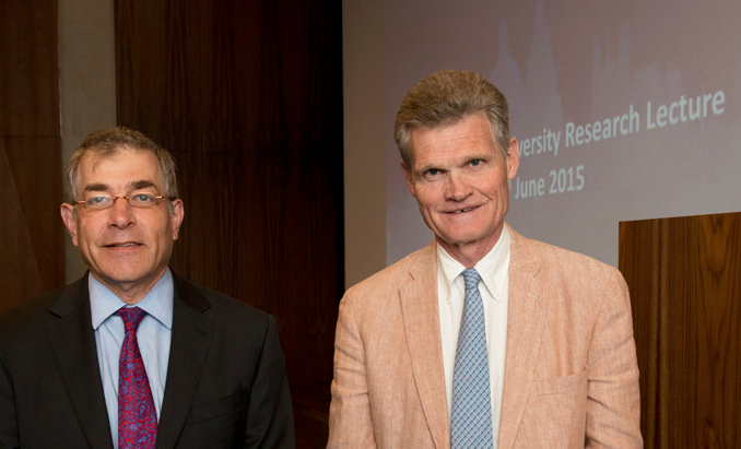 Prof Alistair Fitt, left, and Prof Sir John Bell, Oxford Brookes research lecture, June 2015
