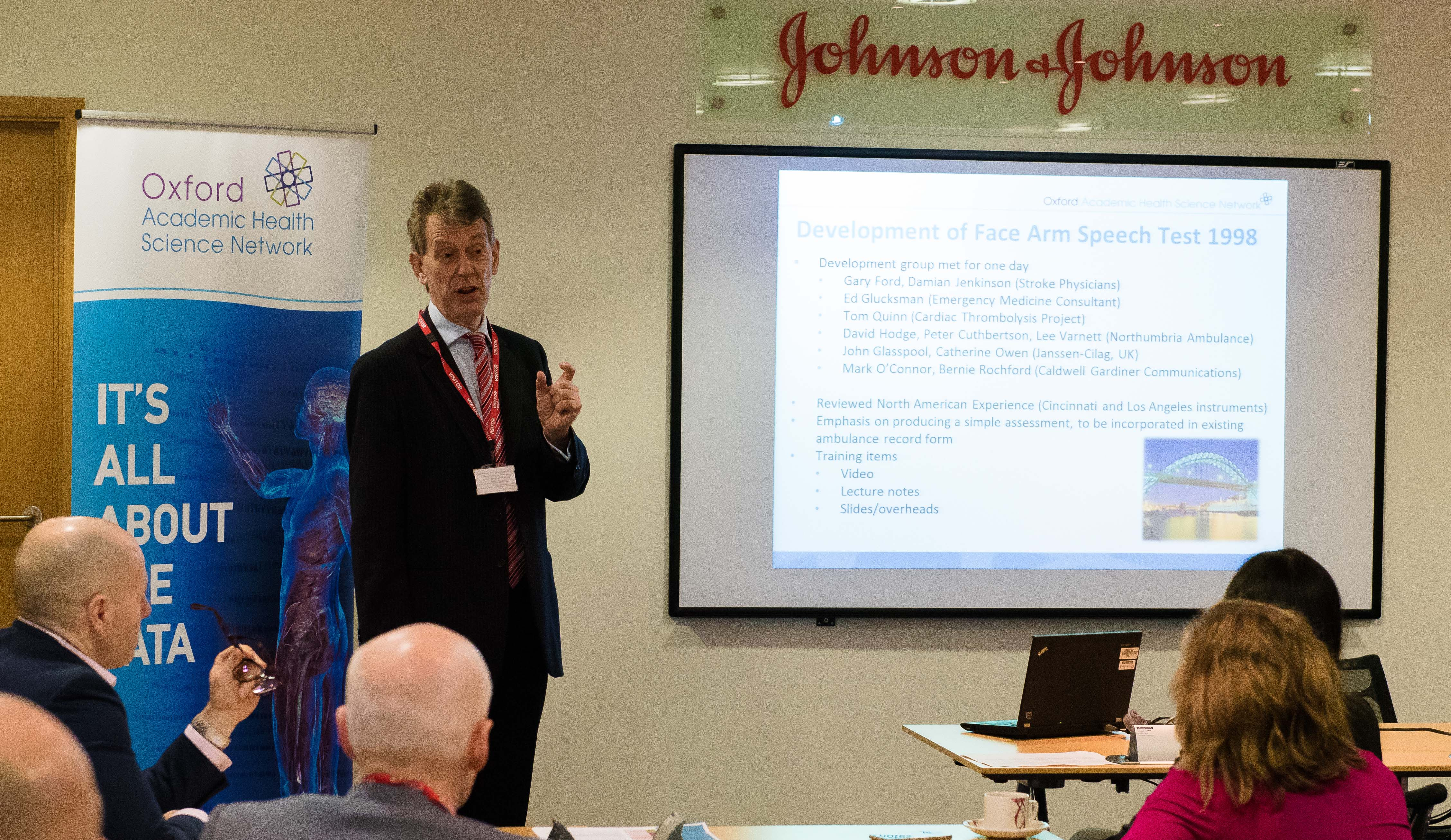 Oxford AHSN Chief Exec Prof Gary Ford speaking at joint meeting with Johnson & Johnson