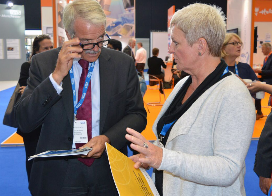 NHS England Chair Sir Malcolm Grant and AHSN Network Chair Rachel Munton at NHS Expo 2015