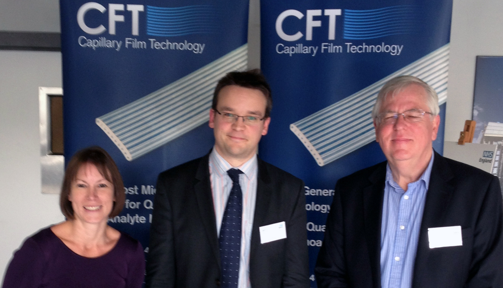 •	Dr Al Edwards of CFT, centre, with the Oxford AHSN's Julie Hart and Hugh Penfold