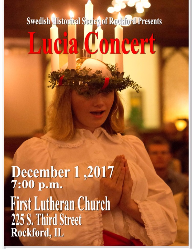 Traditional Lucia Concert, December 1st, 7:00pm @ First Lutheran Church | Rockford | Illinois | United States