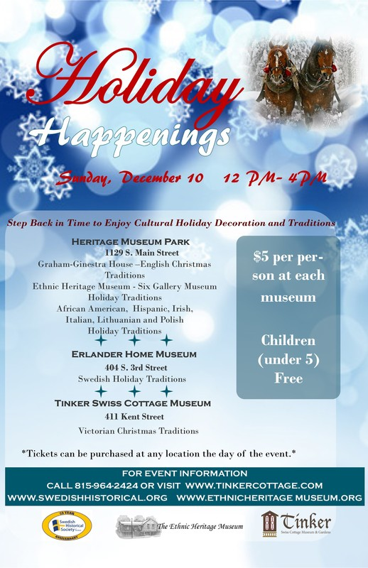 HOLIDAY HAPPENINGS - TOUR HISTORIC HOMES! - December 10th, Noon to 4:00pm @ See below for three locations