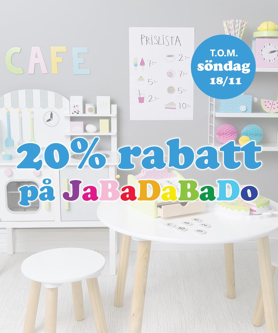 20% rabatt på Jabadabado t.o.m. söndag 18/11