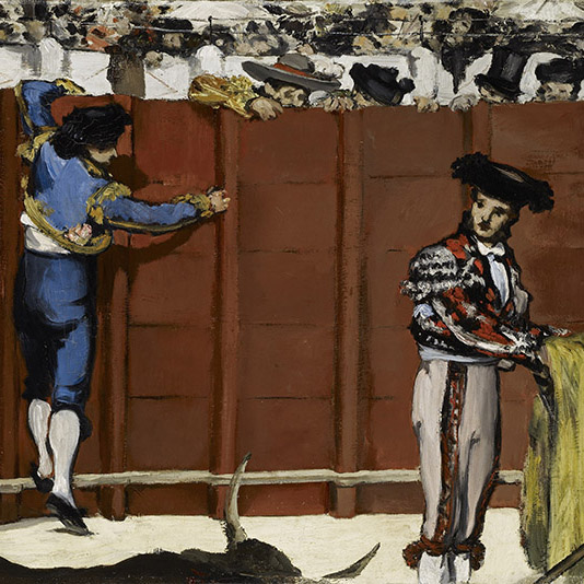 Oil painting of bullfighters in a ring