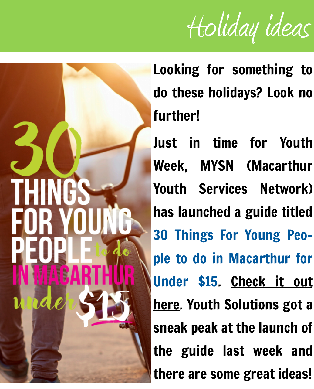 30 things for young people to do in Macarthur under $15