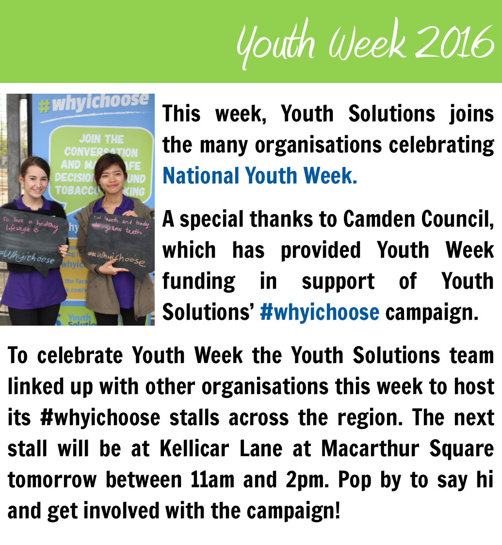Youth Solutions celebrates Youth Week 2016.