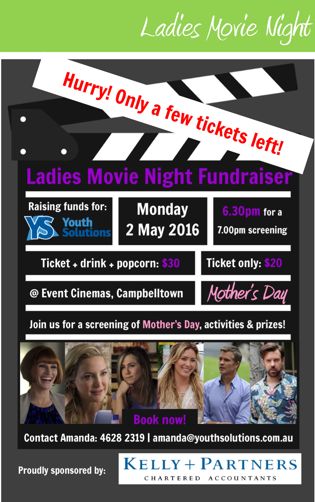 Only a few tickets left for the YS Ladies Movie Night!