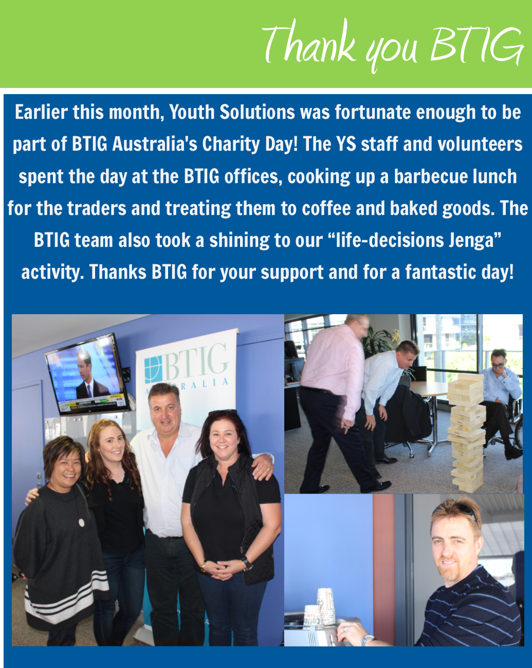 Youth Solutions takes part in BTIG Charity Day