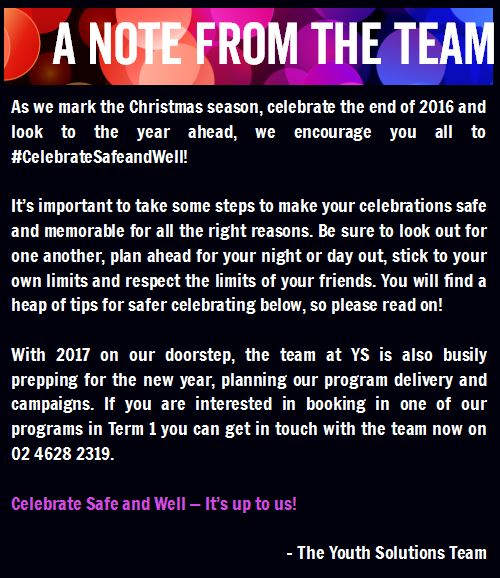 A note from the team: Celebrate safe this Christmas! See you in 2017!