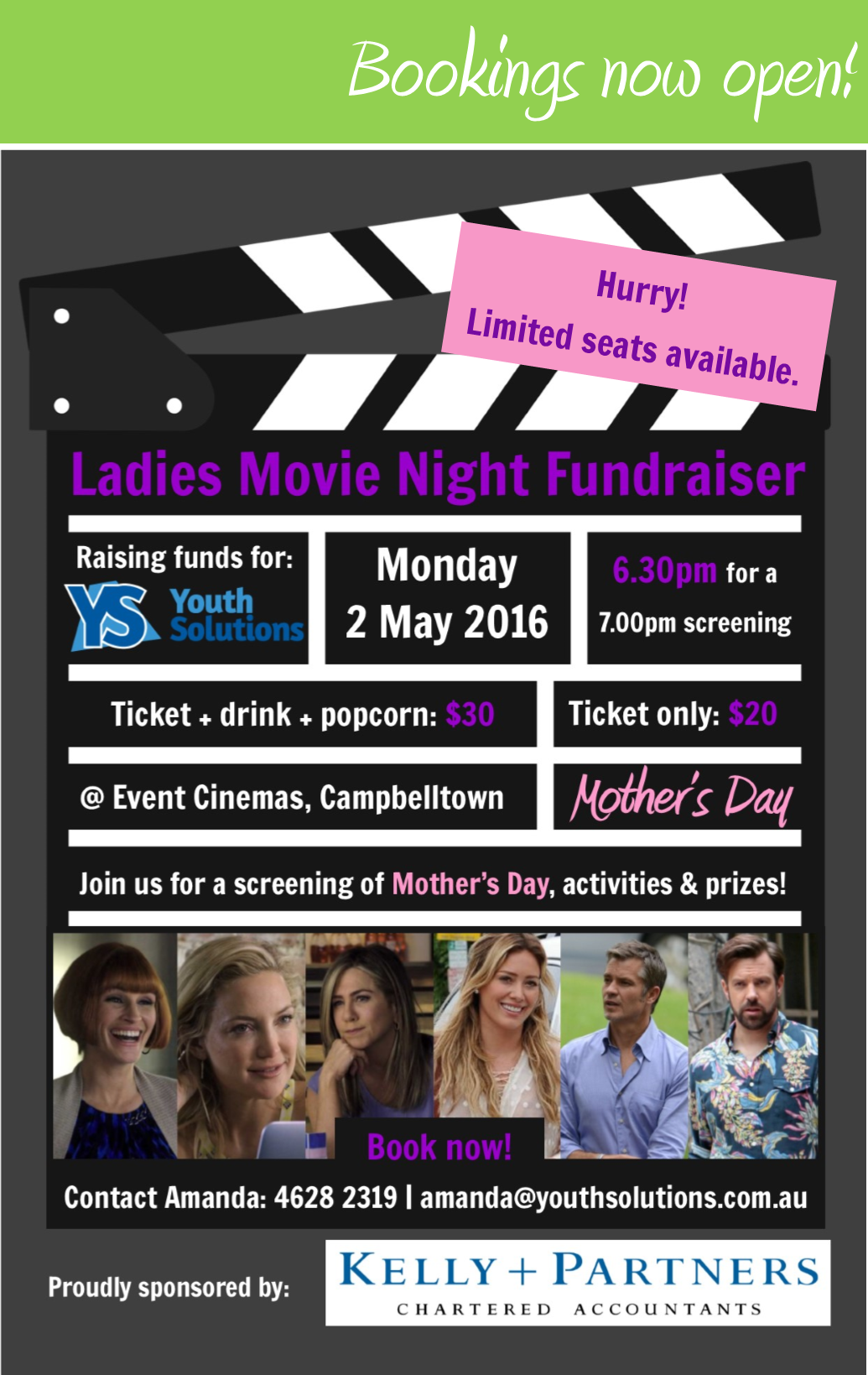 Tickets on sale now for Youth Solutions' Ladies Movie Night!