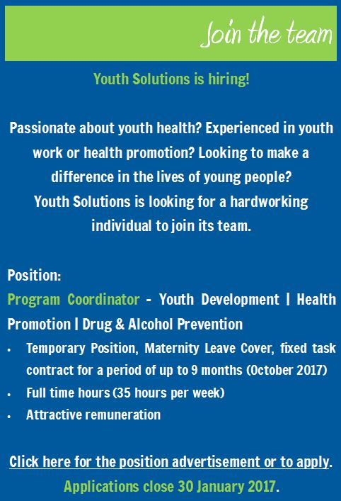 Youth Solutions is hiring! Job: Program Coordinator
