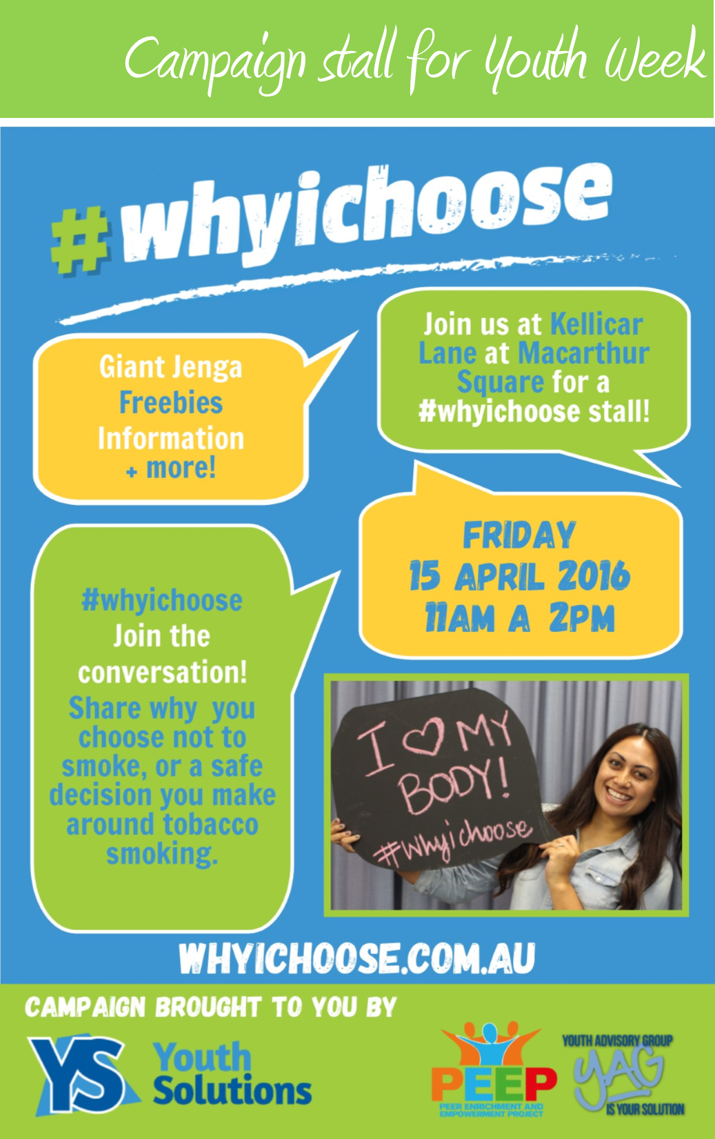 Youth Solutions to host #whyichoose stall at Macarthur Square for Youth Week.