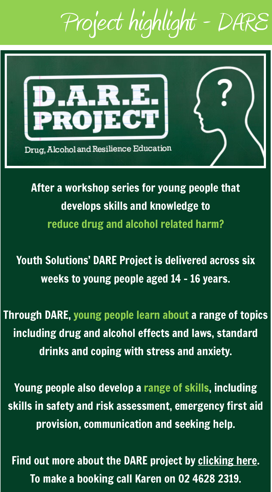 Youth Solutions Projects: DARE - Book now for Term 2.