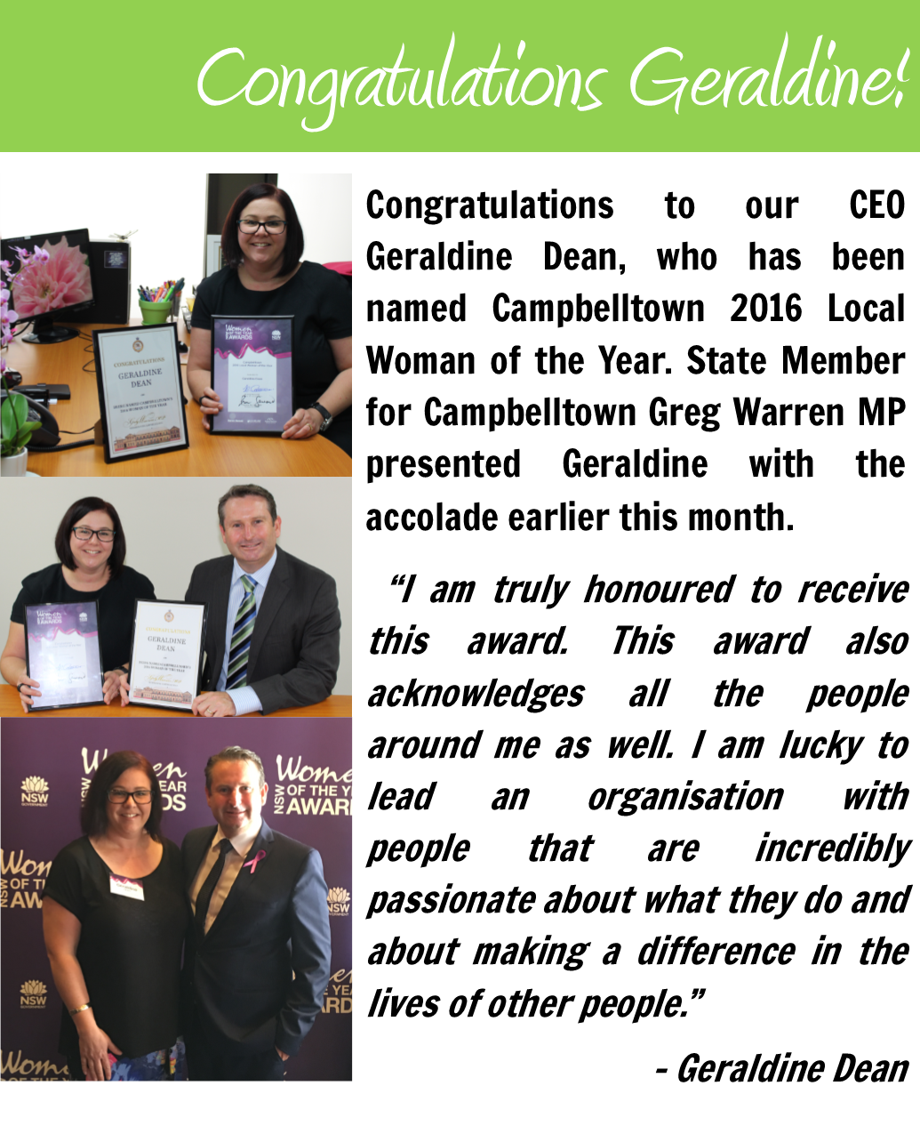 Youth Solutions CEO Geraldine Dean named Campbelltown Woman of the Year!