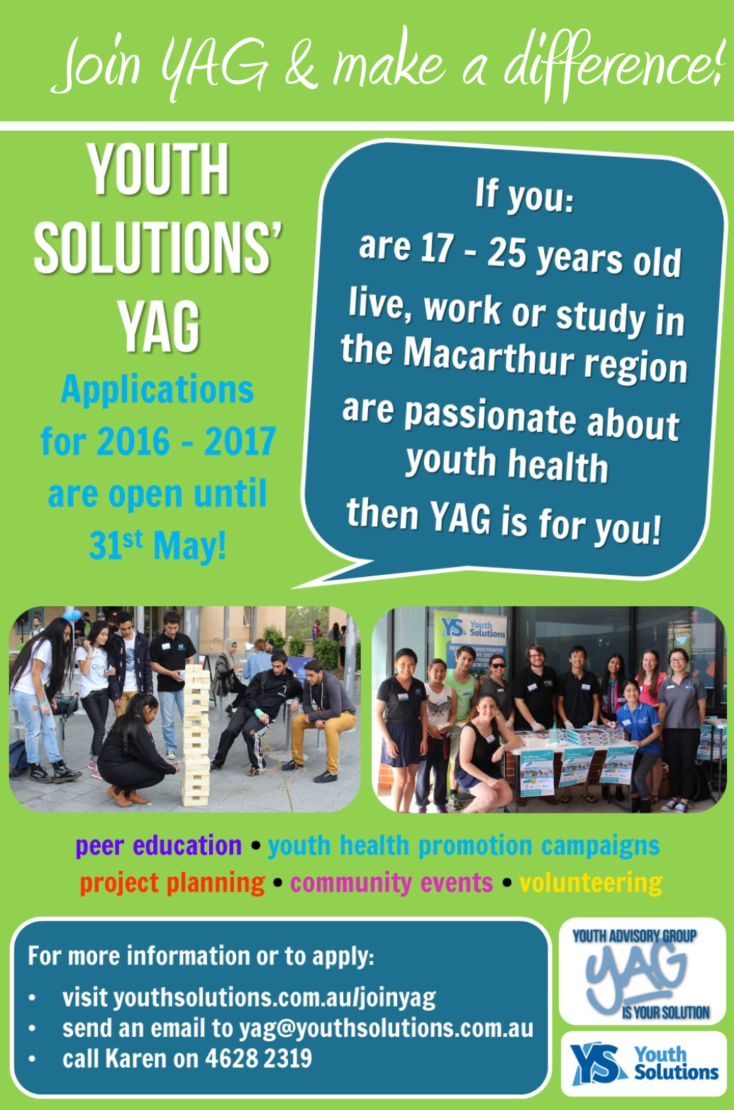 Join YAG and make a difference!
