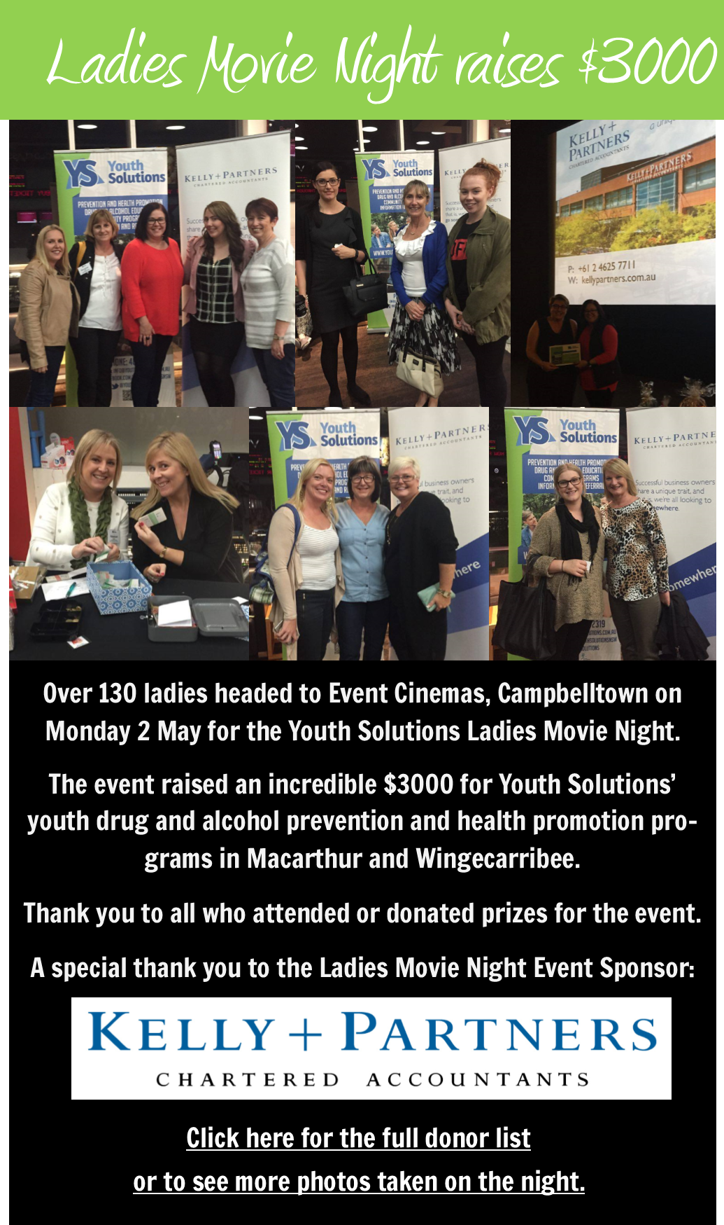 Ladies Movie Night Raises $3000 for Youth Solutions.