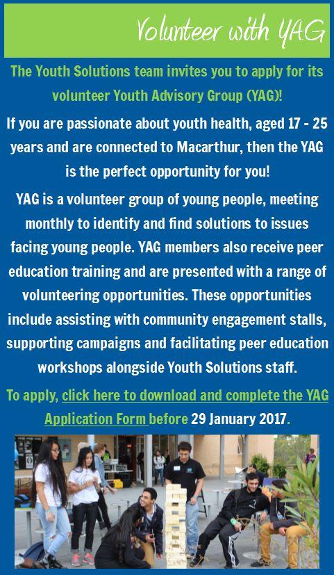 Volunteer with YAG