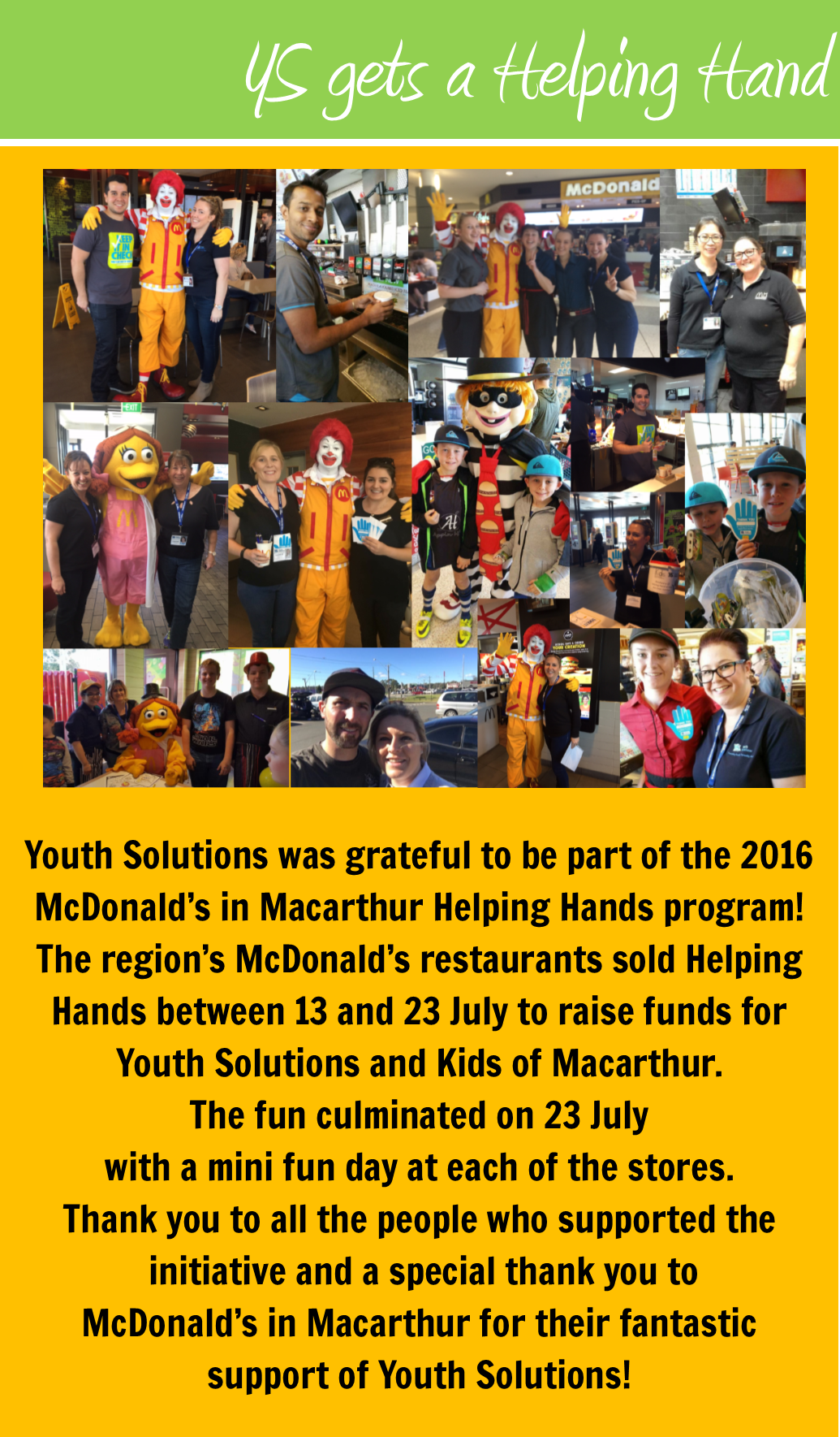 Youth Solutions benefits from McDonald's Helping Hands program