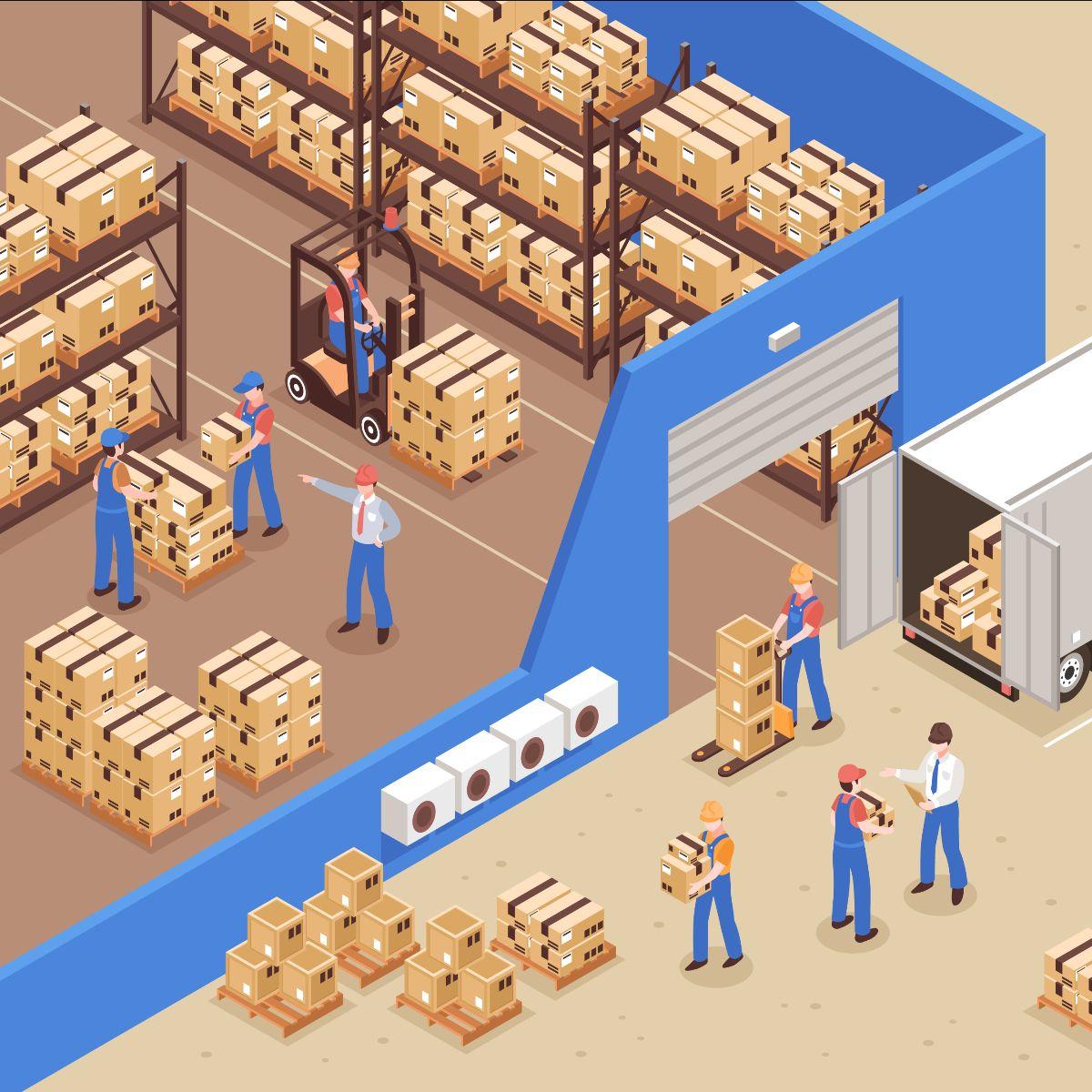 drawing of an industry moving boxes - dibujo de una industria moviendo cajas
