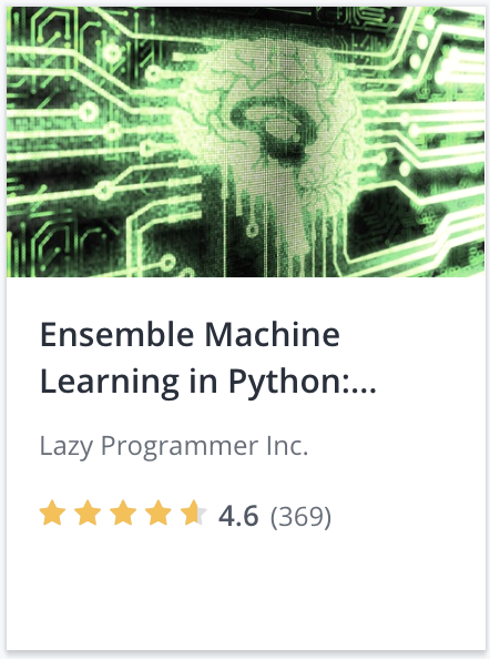 June 2019 Udemy $9.99 Machine Learning and AI Sale